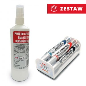 Zestaw - Pentel Maxiflo MWL5S-4N + płyn do tablic 250ml