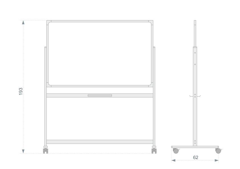 Allboards Keramická otočná oboustranná magnetická tabule 120x180cm - nákres